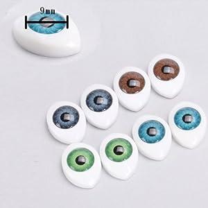 8個セット ドール アイ ドールアイ 9mm 4色 オーバル 人形 眼 目 操り人形 ドールメイキング ハンドメイド修理に