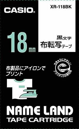 カシオ ラベルライター ネームランド 布転写テープ 18mm XR-118BK 黒文字