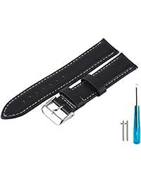 Marswalk 本革 腕時計用ベルト 男性と女性のための交替ストラップウォッチ おしゃれ シルバートーンバックル閉鎖 (20mm, ブラック白線)
