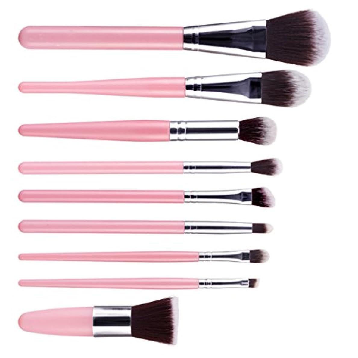 【ノーブランド品】 メイクブラシ プロ フェッショナル 化粧品 メイクアップ ブラシ セット 9本セット 9色選ぶ  - ピンク+シルバー