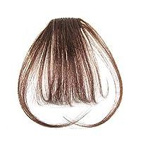 AISIHAIR前髪ウイッグ 総手植え100%人毛 空気感のパッチン ストレート 固定クリップにつけ 清新感 部分ウイッグ ライトブラウン