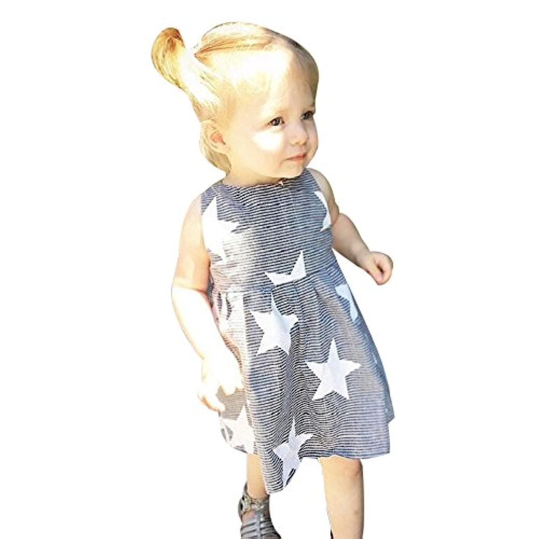 キッズドレス Yochyan 子供 可愛い 女の子 キュート ノースリーブ ドレス 子供服 ベビー服 おしゃれ 星 柔らかい オフショルダー ストライプ ファッション ワンピース 夏服 誕生日 通園 通学 日常着 ビーチスカート