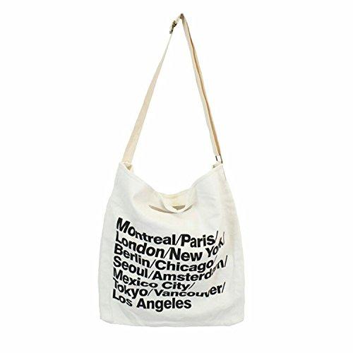 JIEKERY キャンバス バッグ トート バッグ ショルダー バッグ ハンドバッグ 可愛い 帆布 カジュアル 多機能 多用途 英字 (ホワイト(ボタン))