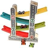 P Prettyia ミニ車おもちゃ 4層ランプ トラック 車おもちゃ くるくるスロープ 知育玩具
