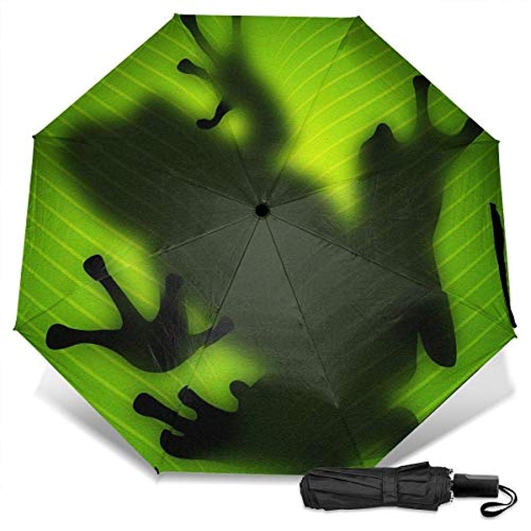 スズメバチプロペラ活性化する緑のカエル折りたたみ傘 軽量 手動三つ折り傘 日傘 耐風撥水 晴雨兼用 遮光遮熱 紫外線対策 携帯用かさ 出張旅行通勤 女性と男性用 (黒ゴム)