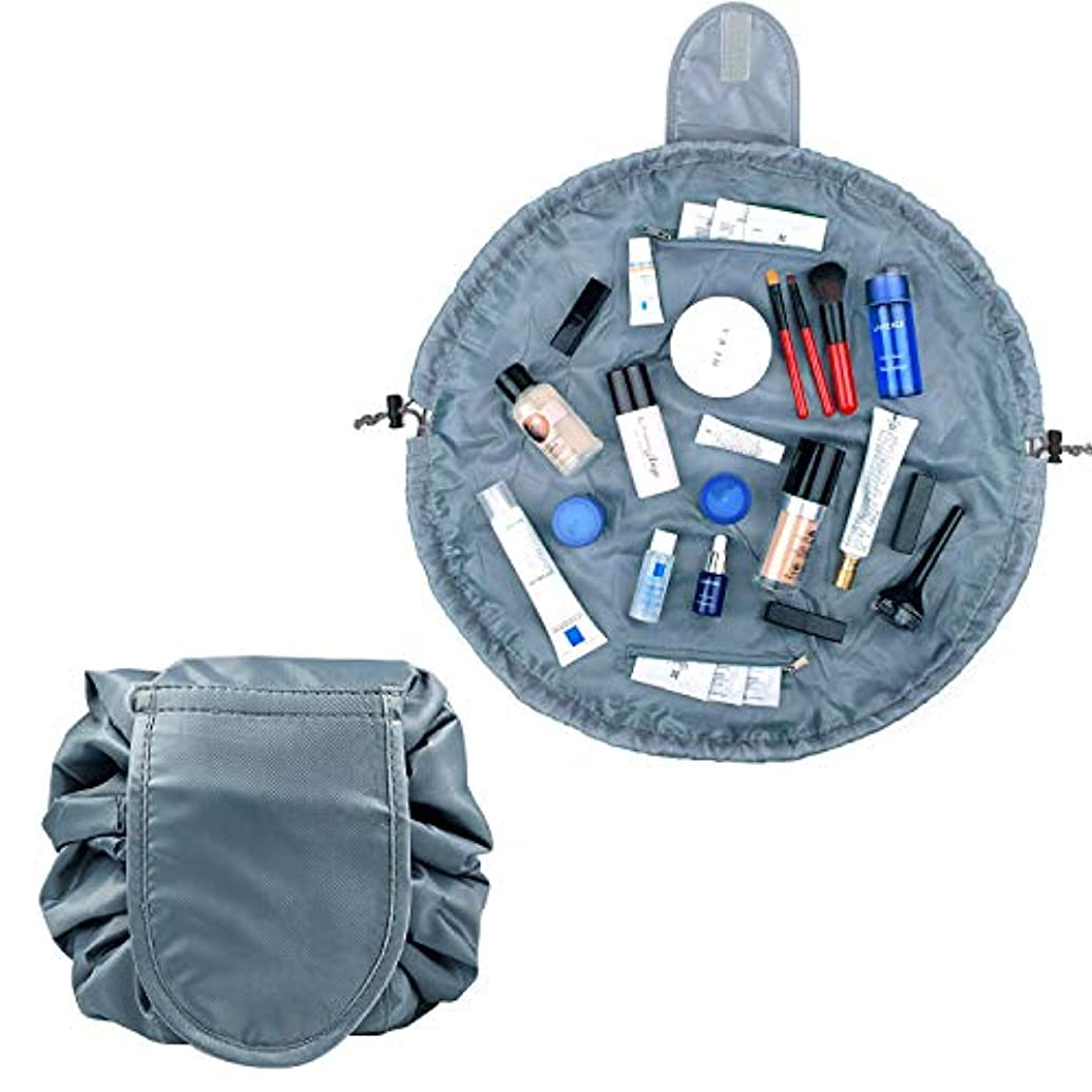 公平なアスリートジョリーHEARTEST 巾着 化粧 ポーチ マジックポーチ ポータブル旅行メイクバッグ 防水大容量の旅行化粧バッグ 超軽量 便利 旅行 (グレー)