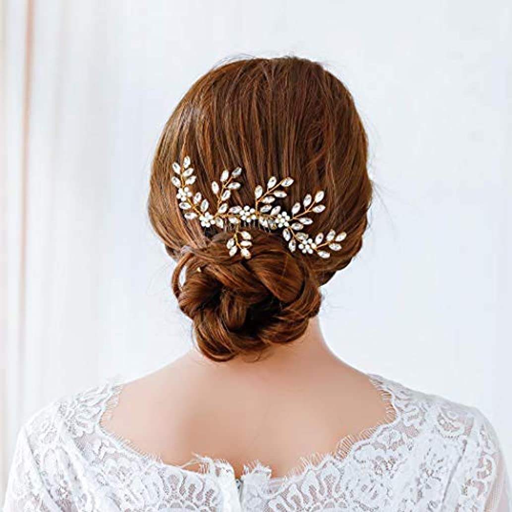 航海の無限大誘惑するJovono Bride Wedding Hair Comb Bridal Crystal Hair Accessories Beaded Headpieces for Women and Girls (Gold) [並行輸入品]