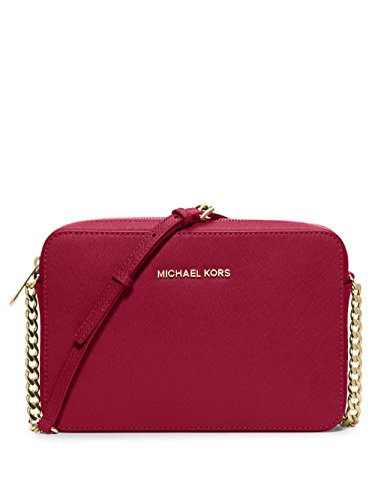 MICHAEL KORS JET SET LARGE SAFFIANO LEATHER CROSSBODY CHERRY [並行輸入品]