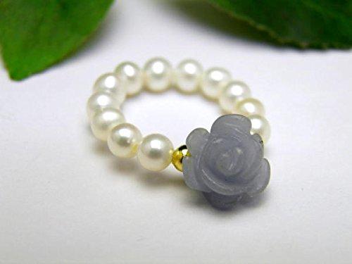 エンジェライト3Aランクと淡水パールの薔薇リング・指輪 立体バラ彫刻と真珠使用の天然石パワーストーンリング|