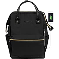 KROSER Laptop Backpack 15.6 Inch Stylish Computer Backpack School Backpack Casual Daypack Laptop Bag Water Repellent Nylon Business Bag Tablet With USB Port for Travel/Business/College/Women/Men-Black
