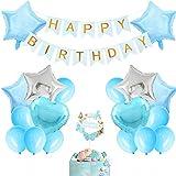 誕生日飾り付け ライトブルー 水色 デコレーション ベビーシャワー 誕生日 男の子 女の子 Happy birthdayバナー 星 ハート バルーン 空気入れ バルーン接着剤