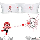 BOLDLOFT Captured By Your Love Couples Pillowcases- Funny Couples Gifts, Spiderman Gifts for Men, Gifts for Couples, His and Hers Gifts, Christmas Gifts for Boyfriend, Superhero Gifts for Men
