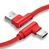 【1.8M L字 赤】 SmartDevil Micro USB ケーブル L型 急速充電?高速データ転送対応 10,000+回の曲折テスト ナイロン編組ケーブル 高耐久 断線防止 PCとのデータ通信対応 LG/SonyGalaxy/Xperia/Nexus/Androidスマホ/タブレット/MacBook/ノートパソコン/モバイルバッテリなどMicro USB端子搭載されるほとんどの機種に対応 usbケーブル L字型 マイクロusbケーブル 直角 レッド 24時間以内に返信