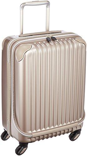 [カーゴ] スーツケース ハードキャリー ジッパー フロントポケット 35L 3.2kg フロントポケット クリアケース付き アルファベットシール付き 消音キャスター 機内持込可 保証付 35.0L 54cm 3.2kg CAT423FP E GOLD エンボスゴールド