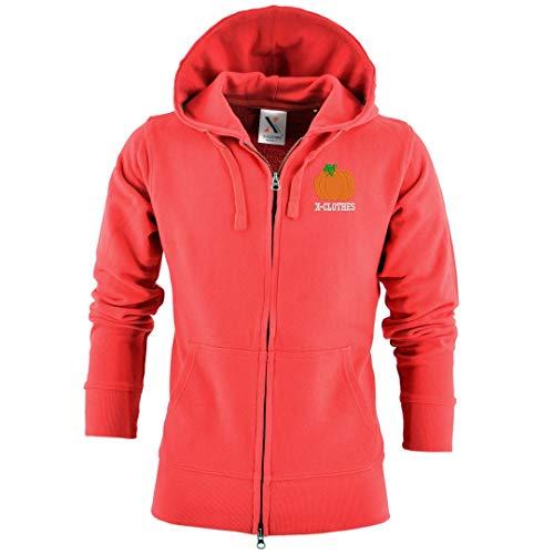 [X-CLOTHES] フルジップ パーカー 長袖 ビッグ ワンポイント 刺繍 グッズ フード付き 服 メンズ カボチャ かぼちゃ 南瓜 レッド 赤 かぼちゃ2 XLサイズ