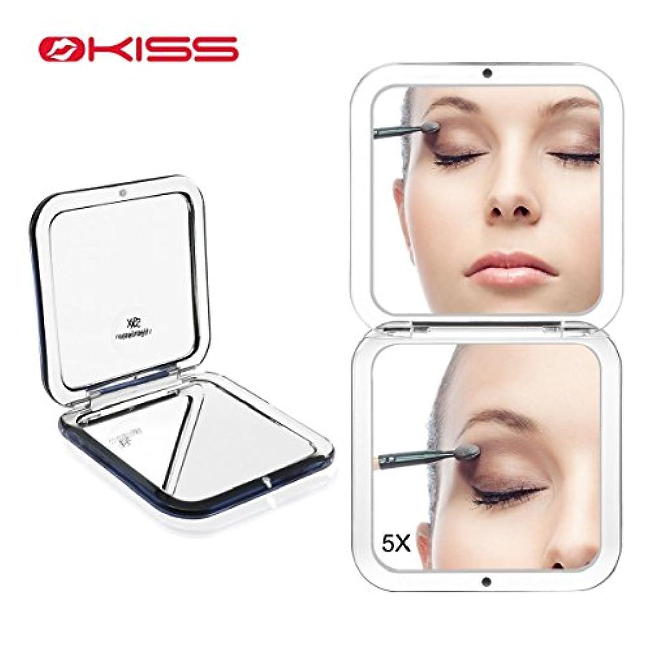 疼痛塩仕様OKISS ハンドミラー 手鏡 メンズ コンパクトミラー 化粧鏡 ミラー 5倍拡大鏡+等倍鏡 両面 メンズ 携帯ミラー 折りたたみ おしゃれ 外出 持ち運び便利