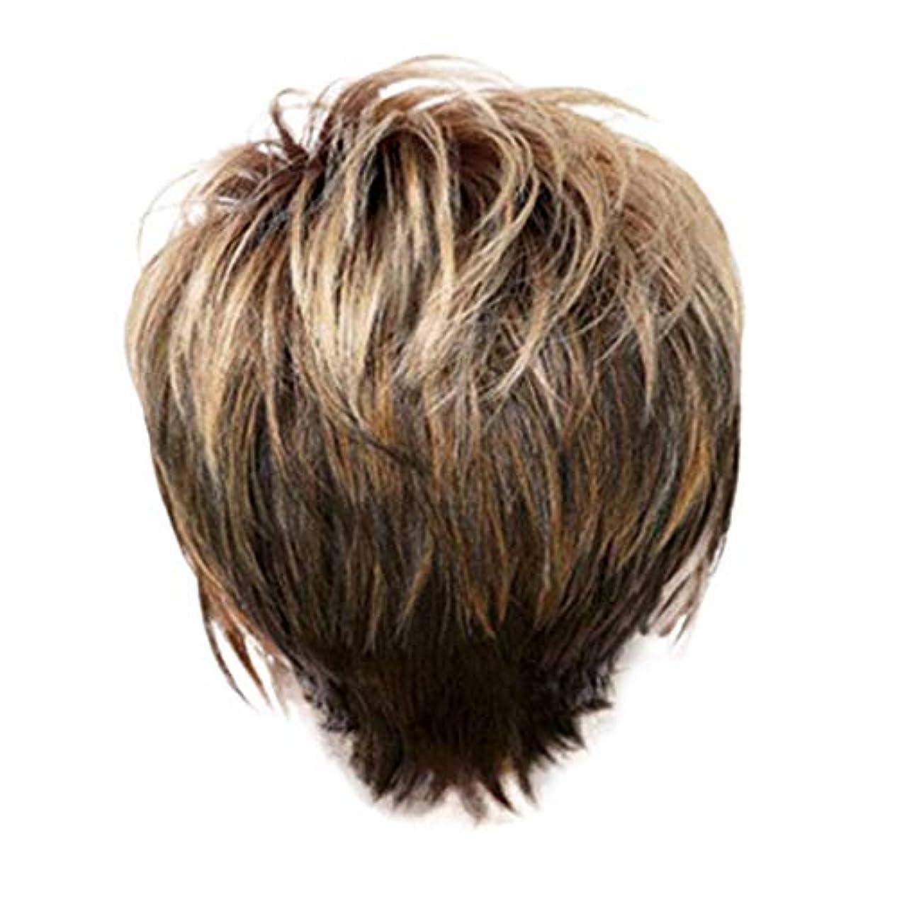 郵便番号自治的階ウィッグ女性の金茶色の短いストレートヘアファッションセクシーなかつら31 cm