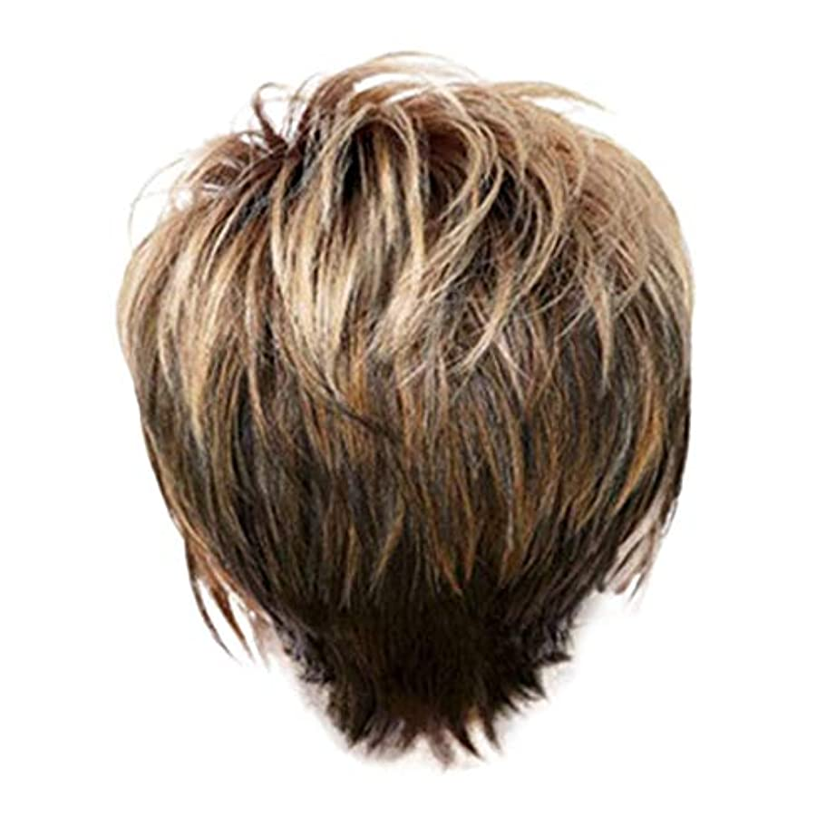 家禽地震王子ウィッグ女性の金茶色の短いストレートヘアファッションセクシーなかつら31 cm