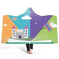 GHATS ガールユニコーン漫画を印刷フード付きブランケット冬暖かい昼寝ぬいぐるみケープバース子供タオルケット130センチメートルの* 150センチメートルを着ることができます (色 : 10, サイズ : 130*150)