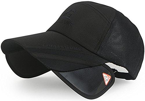 帽子 引出 遮光 バイザー つば長 ムレ 防止 メッシュ キャップ ゴルフ アウトドア 男女 ブラック