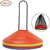 MERRINESS マーカーコーン ディスクコーン サッカー用 カラーコーン サッカー フットサル 陸上 用品 トレーニング 踏んでも割れにくい 障害物 収納袋とホルダー付き 5色