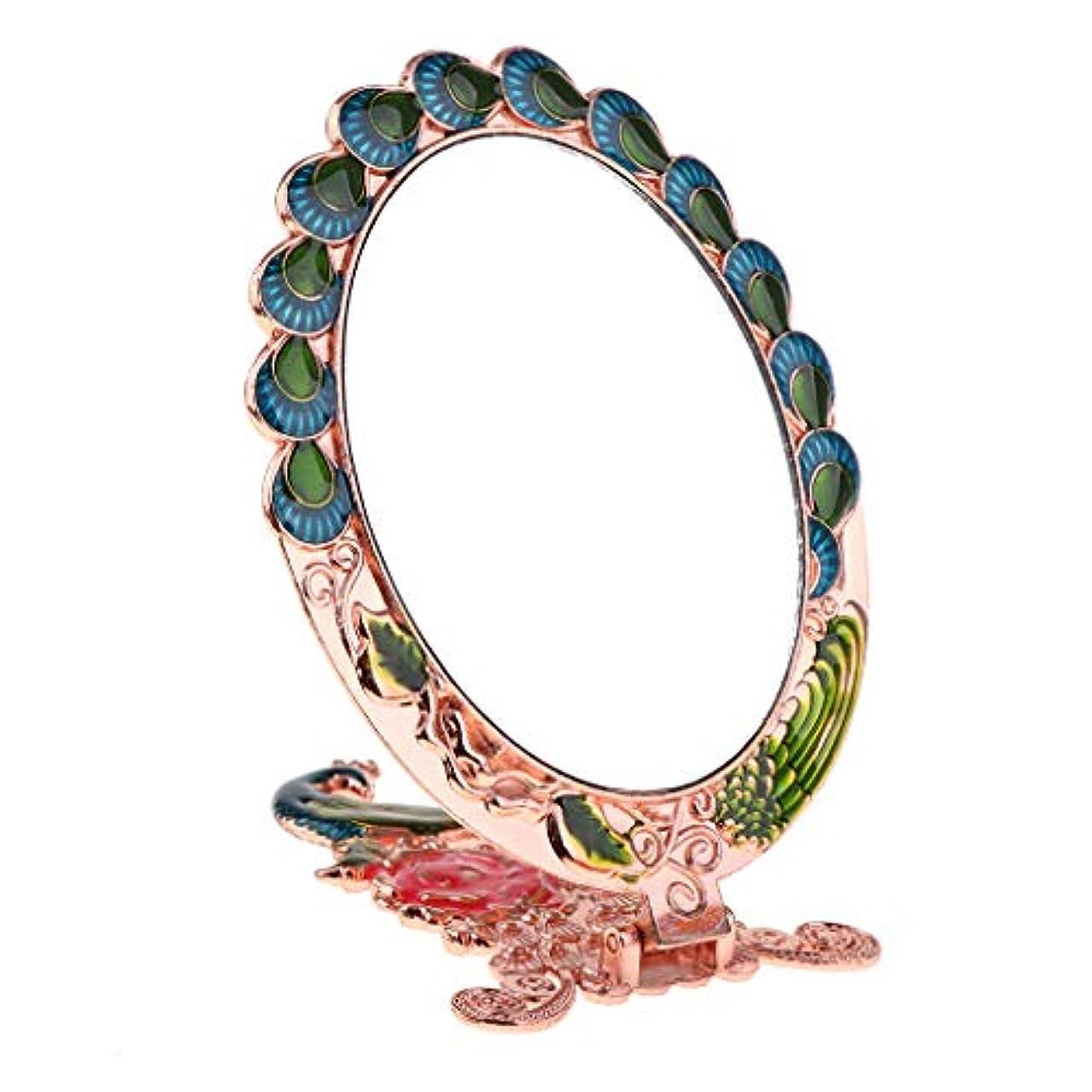 評価可能子歩く金属化粧鏡 孔雀の形 孔雀彫刻 ビンテージロイヤル柄 折りたたみ 誕生日ギフト 家装飾 全3色 - 赤