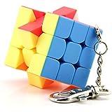 Rabugoo 3 * 3 * 3 創造的 ミニ キーホルダー マジック キューブ ステッカーレス スピード キューブ パズル 子供用 教育玩具