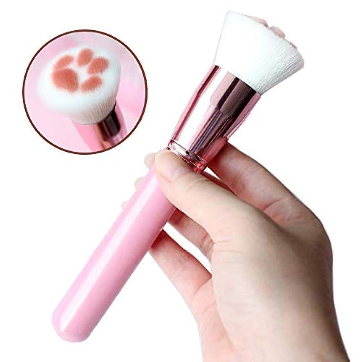 化粧筆 ファンデーションブラシ 高級繊維毛 メイクブラシ 超柔らかい 旅行 人気 可愛い 化粧ブラシ携帯用 (ピンク)