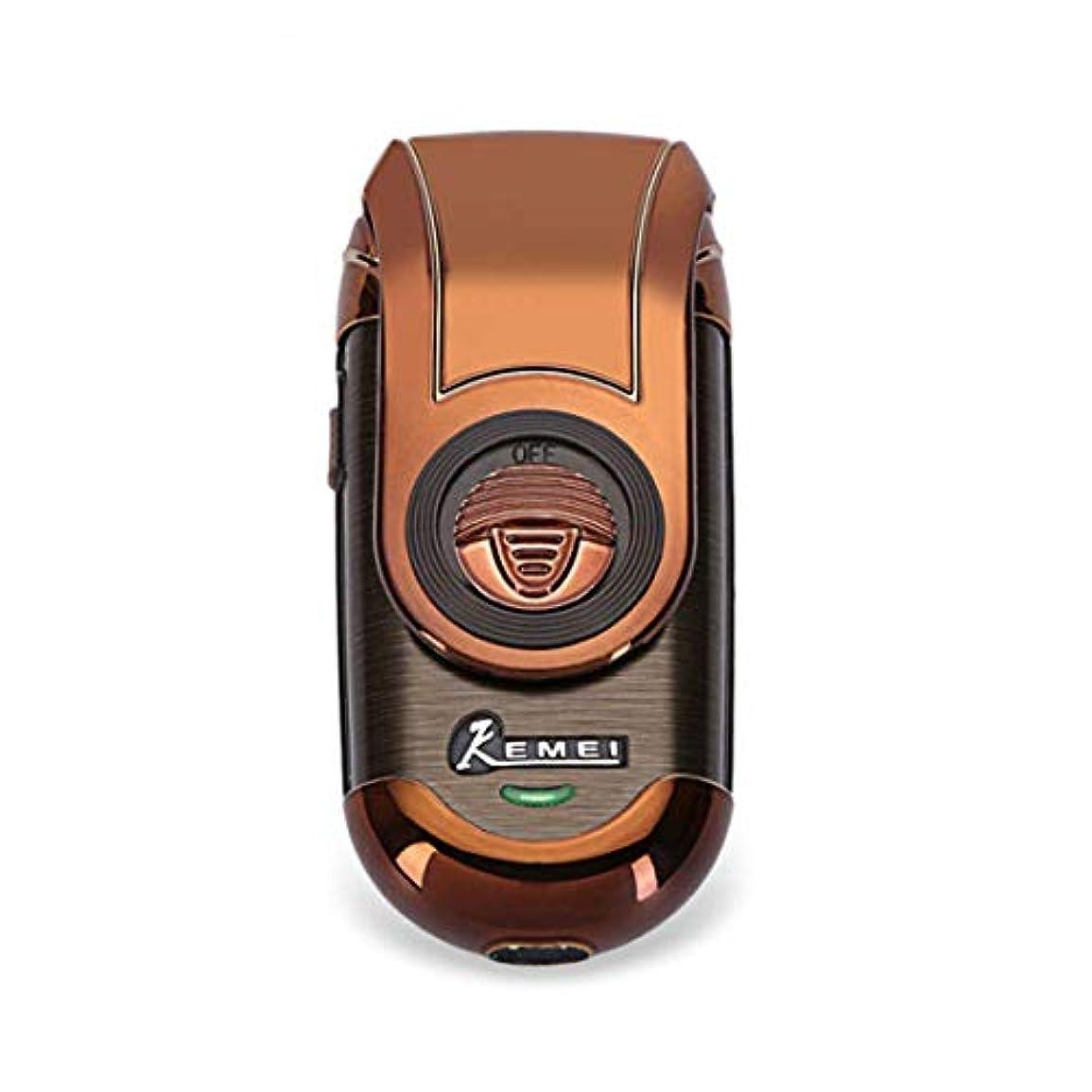 賛美歌サイトラインれる再充電可能な電気かみそりコードレスひげトリマー3D浮遊刃ホイル旅行シェーバー、ポップアップトリマーを往復させる人の小型携帯用電気かみそり