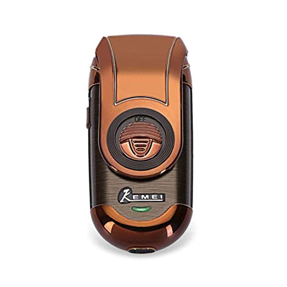 略すビン押し下げる再充電可能な電気かみそりコードレスひげトリマー3D浮遊刃ホイル旅行シェーバー、ポップアップトリマーを往復させる人の小型携帯用電気かみそり