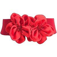 TeeYee Women Girls Big Fashion Double Decor Flowers Buckle Adjustable Elastic Wide Waist Belt