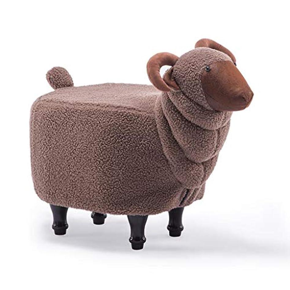 哀れな保護スケルトンGWM スツール、スモールシート、ファッション創造的な動物のスツール靴のスツールソリッドウッドのフットスツールのソファスツールGoatスツール68 * 35 * 50センチメートル (色 : Brown)