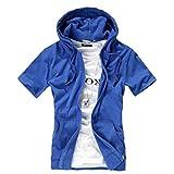 AMBLY パーカー メンズ 薄手 半袖 無地 トレーナー ジップアップ Tシャツ 青 黒 グレー 春 夏 秋 メンズファッション (ダークブルー XL)