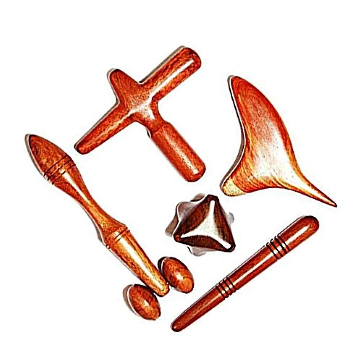 フォルダ夫デンマーク語マッサージ木製スティック マッサージャー ローズウッド ツボ押し棒 マッサージャー 5点セット