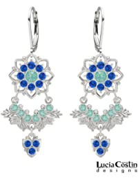 .925 Sterling Silver Floral Earrings Designed by Lucia Costin with Mint Blue and Blue Swarovski Crystals, Enhanced...