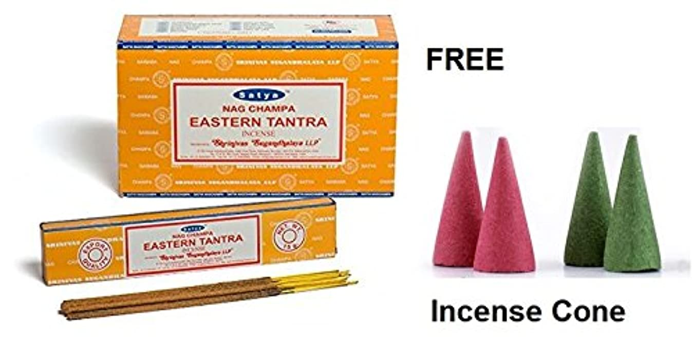 手のひら敬意農場Buycrafty Satya Champa Eastern Tantra Incense Stick,180 Grams Box (15g x 12 Boxes) with 4 Free Incense Cone