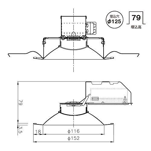 NEC LEDダウンライト SB形 埋込穴φ125昼白色 MRD10013(RP)BW2/N-1