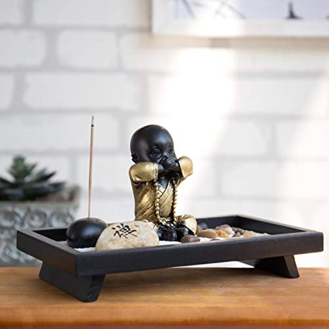 蒸気ありふれた意図MyGift 仏像とお香立て付き卓上禅の庭