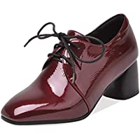 "Heeled Oxfords for Women Chunky 5.5cm/2.16"" Heel Slip in Lace Up Patent Synthetic Leather Rubber Sole Square Toe Vegan Antislip Fashion Comfortable Shoes Well-Made"