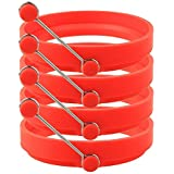 4 Pack Nonstick Egg Ring Silicone Pancake Mold Round Egg Rings red 10CM