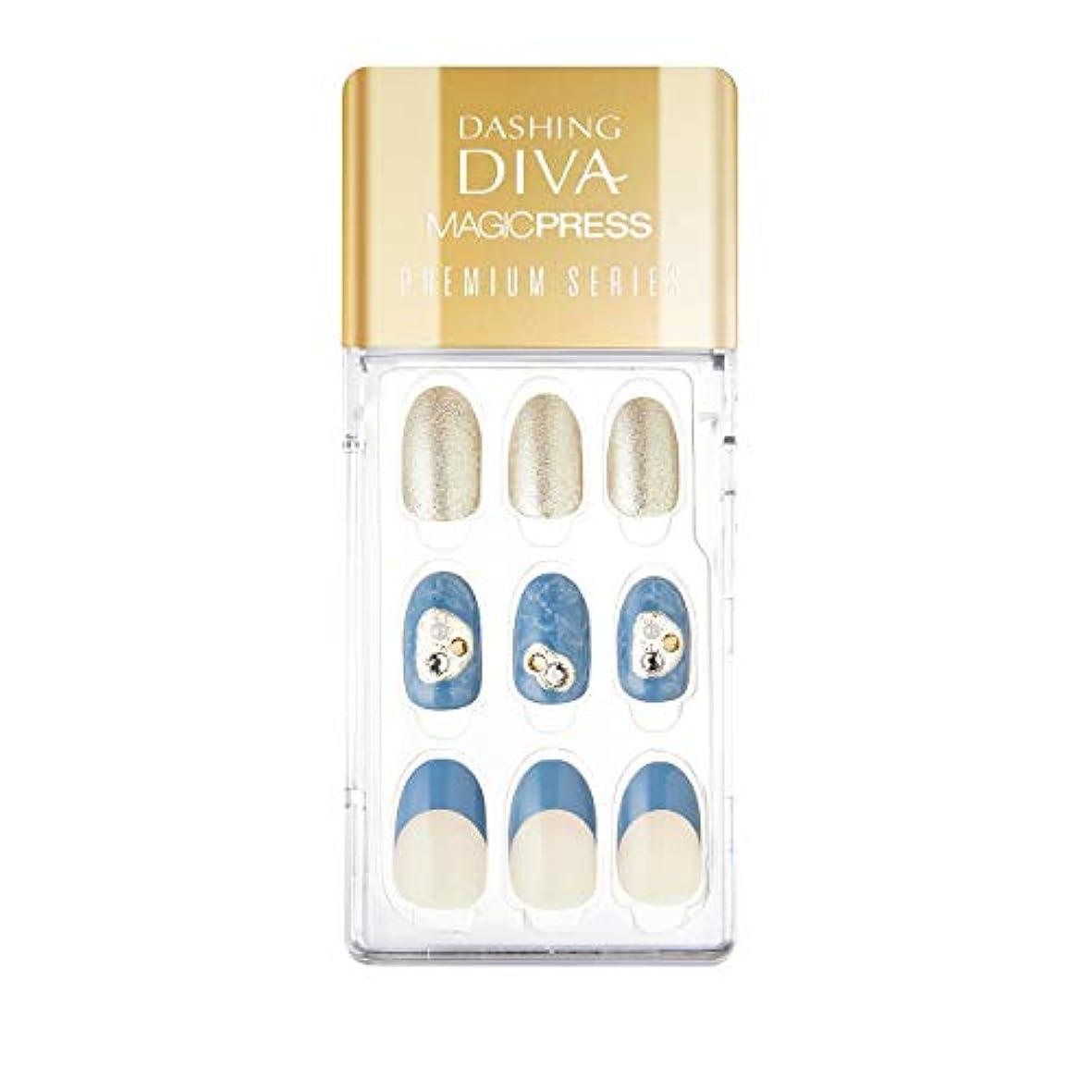 ボット悪魔再生ダッシングディバ マジックプレス DASHING DIVA MagicPress MDR_334PO-DURY+ オリジナルジェル ネイルチップ Blue Moon
