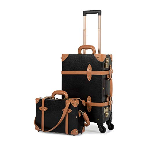 [COTRUNKAGE] キャリーケース 機内持ち込み可 スーツケース TSAロック搭載 トランクケース アンティーク調 キャリーバッグ スーツケースカバーと収納袋付き 軽量・4輪静音 小型 一年安心保証 出張 修学旅行用 (Sサイズセット, ブラック)