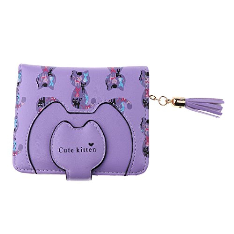 Prettyia レディース 女の子 財布 ボタン 二つ折り カード ホルダー コイン パース クラッチ タッセル 素敵 全5色