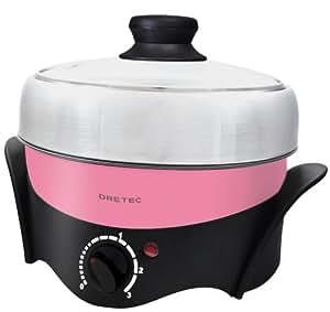 DRETEC 【煮る・焼く・蒸すの1台3役】 電気グリル鍋 マルチポット ピンク MC-801PK