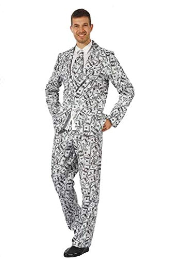[SCGEHA] おもしろ スーツ 総柄 スカル 骸骨 海賊 ドル札 紙幣 お札 柄 コスプレ 衣装 ハロウィン メンズ 大人用 黒?オレンジ風船2個セット(ドル札)