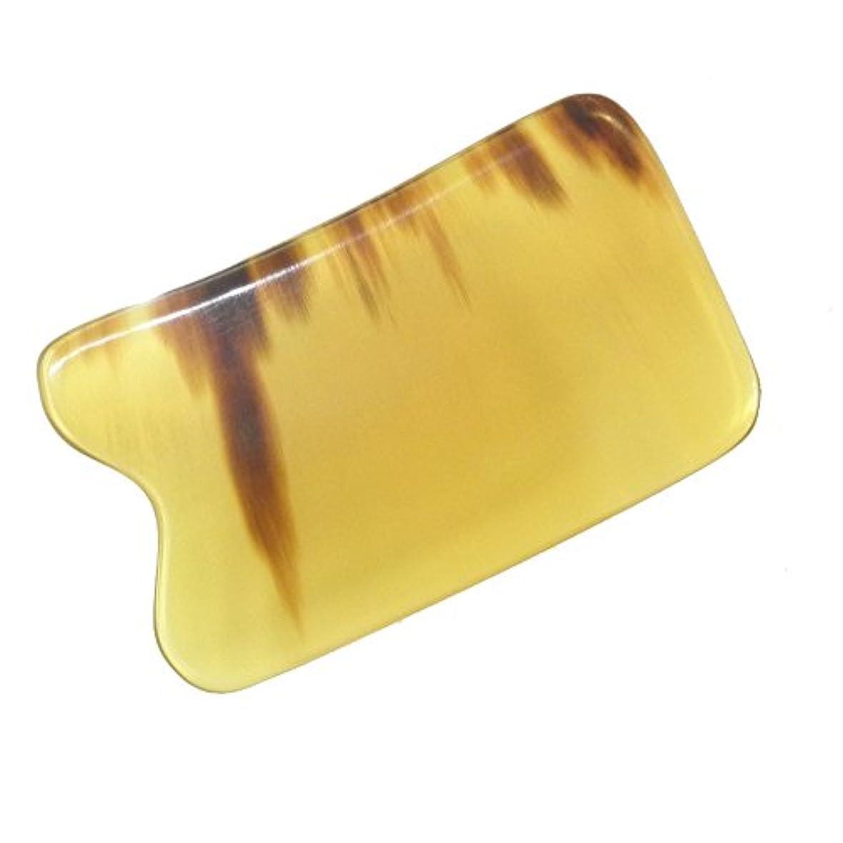 休み蓋生産的かっさ プレート 厚さが選べる 水牛の角(黄水牛角) EHE219SP 四角凹 特級品 少し薄め(4ミリ程度)