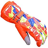 Tortor 1bacha(JP) 男女兼用 スキーグローブ メンズ 6歳以上 キッズ スノーボードウェア グローブ 5本指タイプ 手袋 レディース 防水 防寒 冬 登山 バイク スキー 防風 保温 XS-XL
