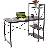 Yaheetech Home Office Computer Desk with 4 Tier Shelves Study Student Business Workstation (Brown)