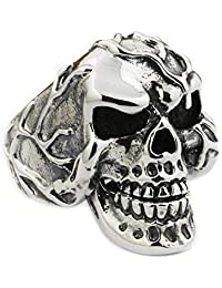 Jaw Openable Skull Ring 925 Sterling Silver Mens Biker Punk Ring 9M020