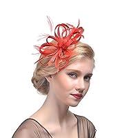 女性のための魅力的な帽子フラワーヘアクリップ帽子付き羽飾りティーパーティー女性のための結婚式のカクテルティーパーティー,赤